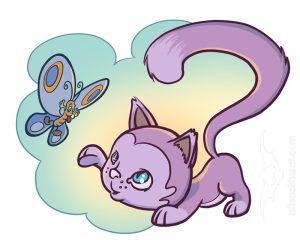 Kindermedien - Wandtatto Katze und Schmetterling