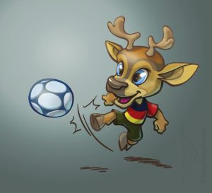 Illustrationen für Kinder - Sympathiefigur Fussballhirsch