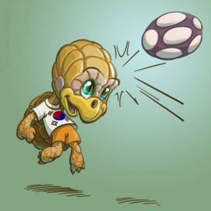 Illustrationen für Kinder - Sympathiefigur Fussballschildkröte